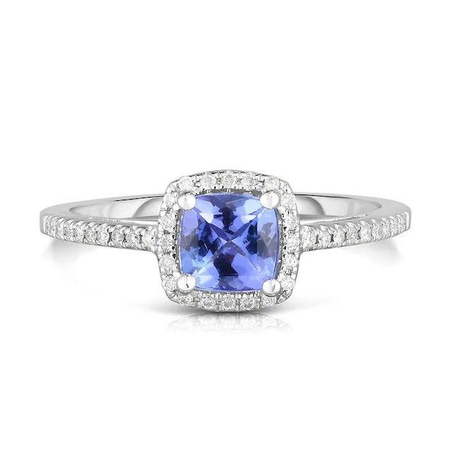 Helzberg Diamonds Cushion-Cut Tanzanite and Diamond Ring in 14k White Gold