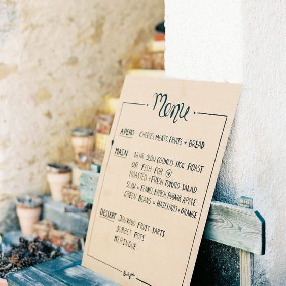Cardstock Wedding Menu