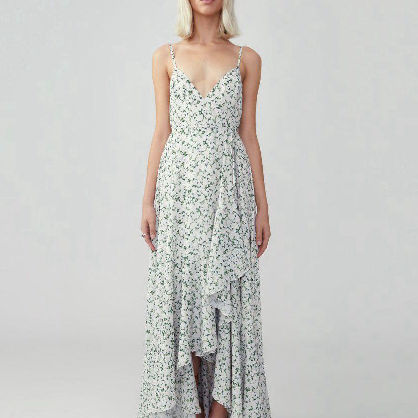 Fame and Partners Ruffle Skirt Wrap Dress $299, on sale $179.40