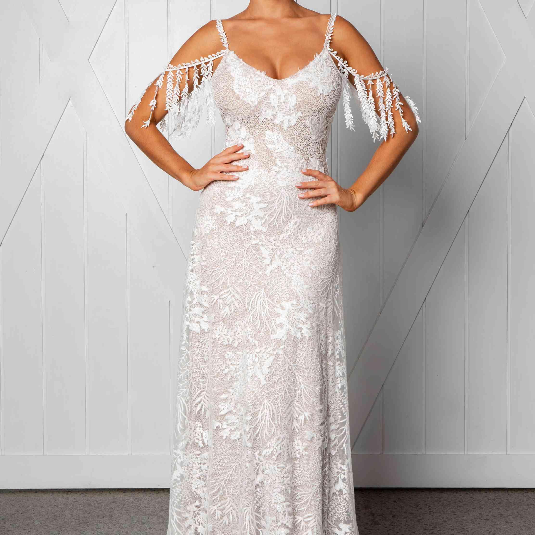 Sol off-the-shoulder wedding dress
