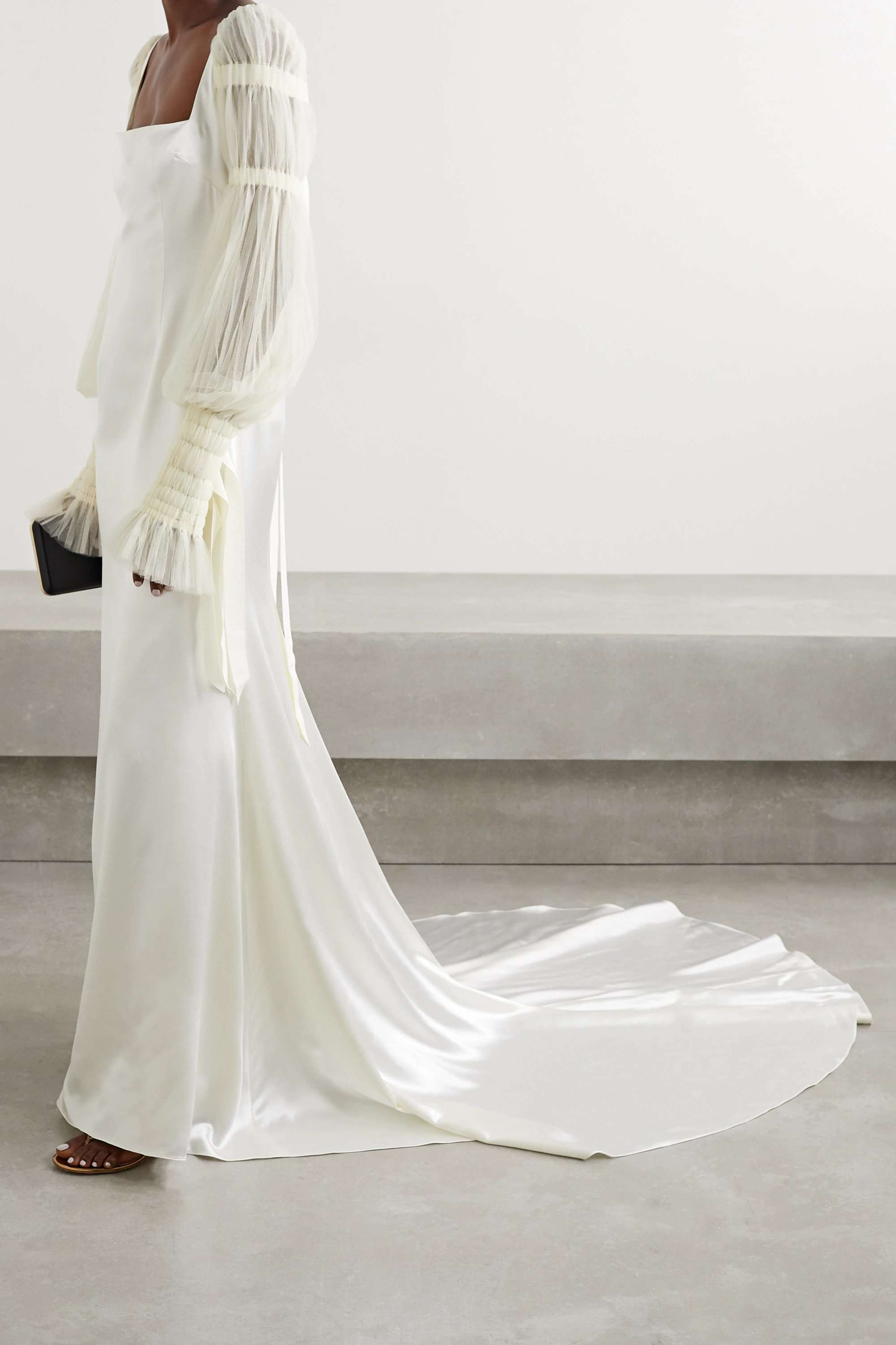 tulle-trimmed wool and silk-blend satin gown