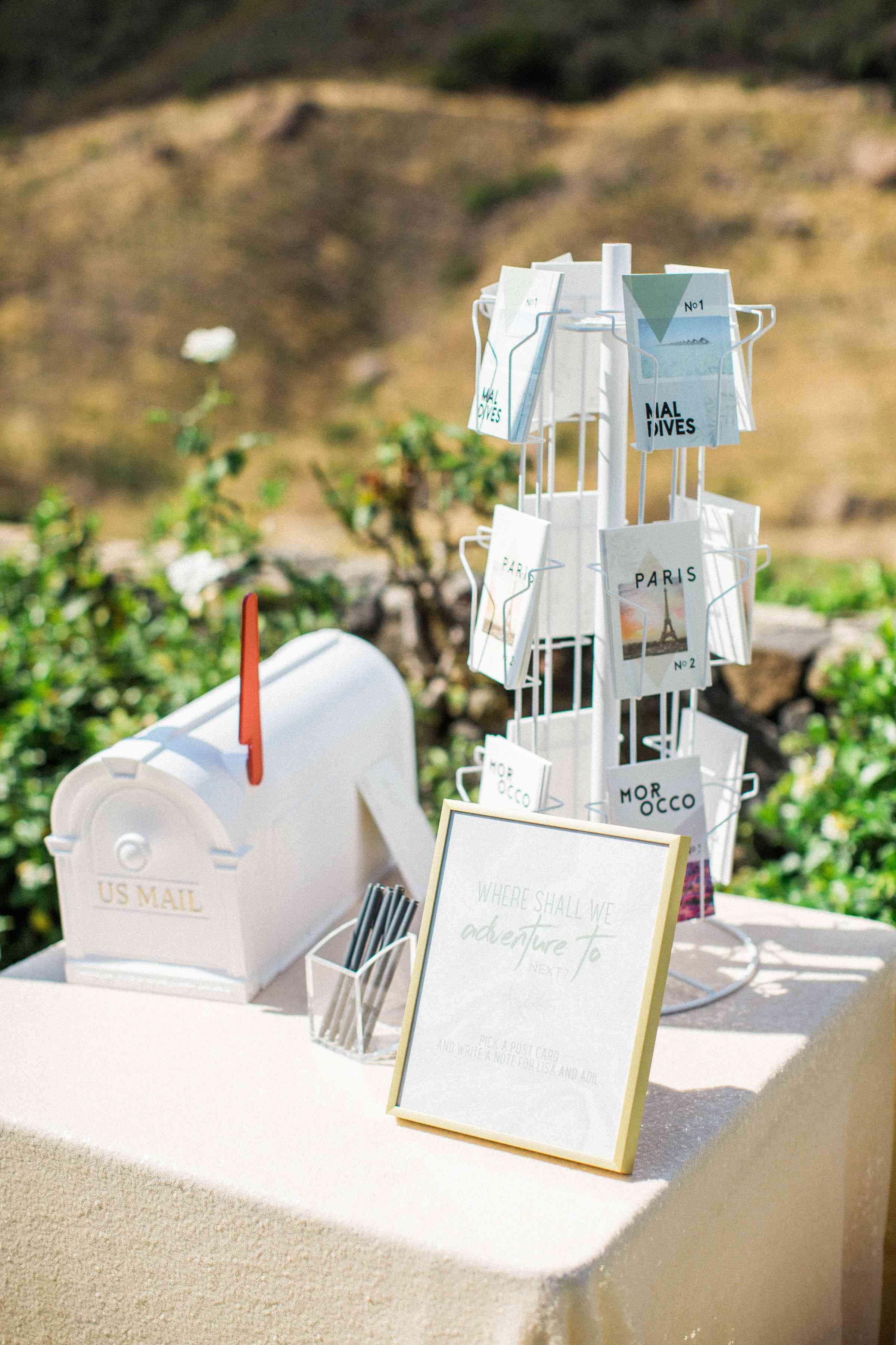 Postcards as wedding guest book