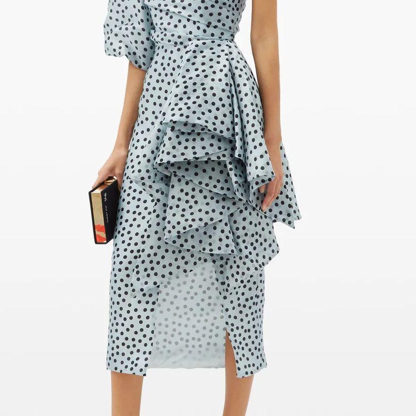 One-shoulder polka-dot silk-organza dress