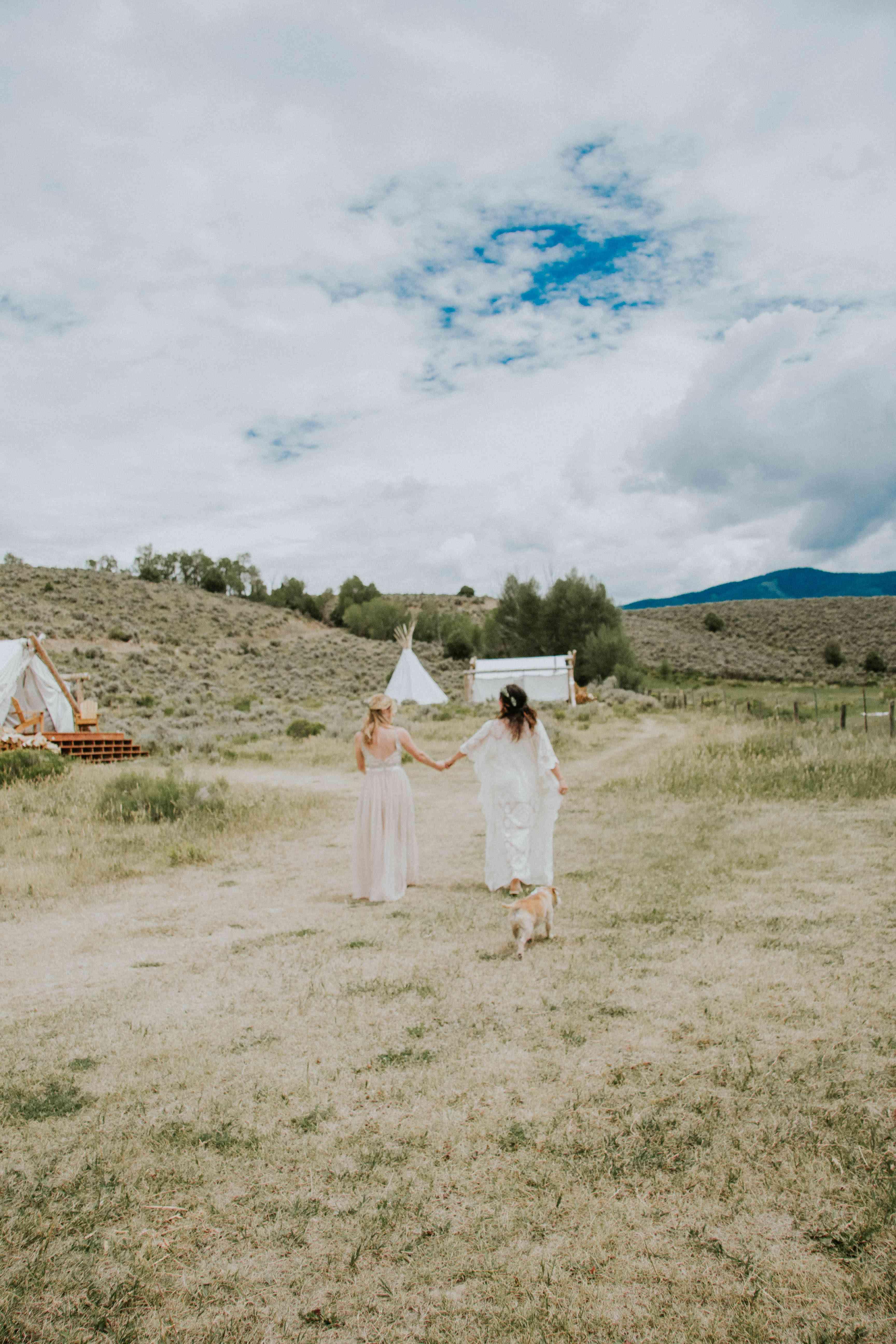 Brides holding hands in feild