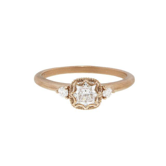 Megan Thorne Scalloped Bezel Square Cushion Cut Diamond Rose Gold Prima Ring