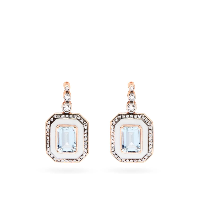 SELIM MOUZANNAR Mina diamond, aquamarine & 18kt rose-gold earrings
