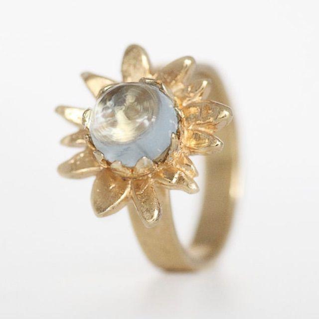 AmuletteBoutique Sunflower Ring, Sky Blue Topaz Ring, Flower Engagement Ring, Sunflower Jewellery, Sunflower Wedding