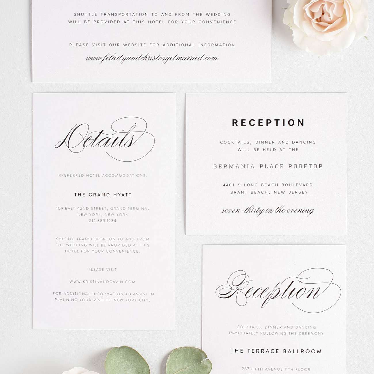 Wedding invitation suite with reception insert