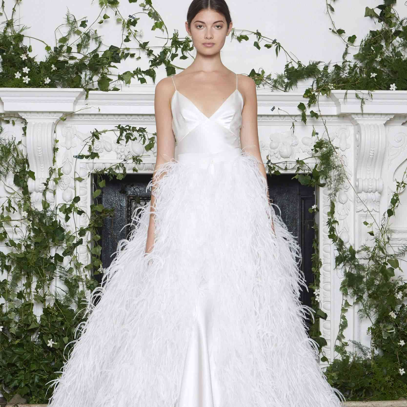 Wedding Gown With Feathers: 30 Feather Accented Wedding Gowns For The Fanciful Bride