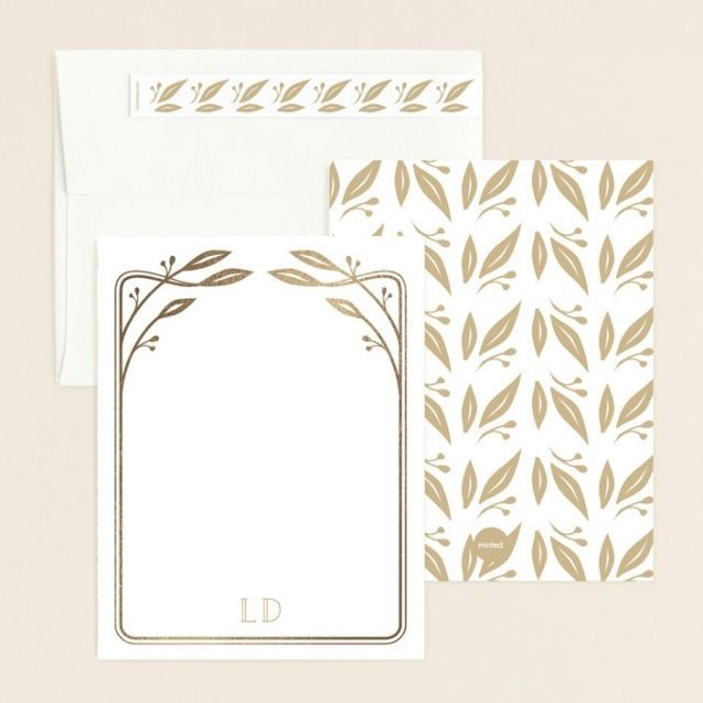 Minted Art Deco Leaves Personalized Stationery