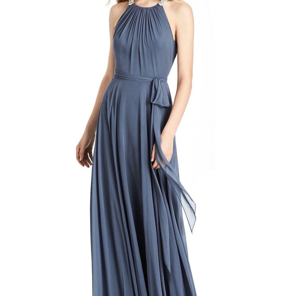 Jenny Packham Beaded Shirred Halter Dress with Sash