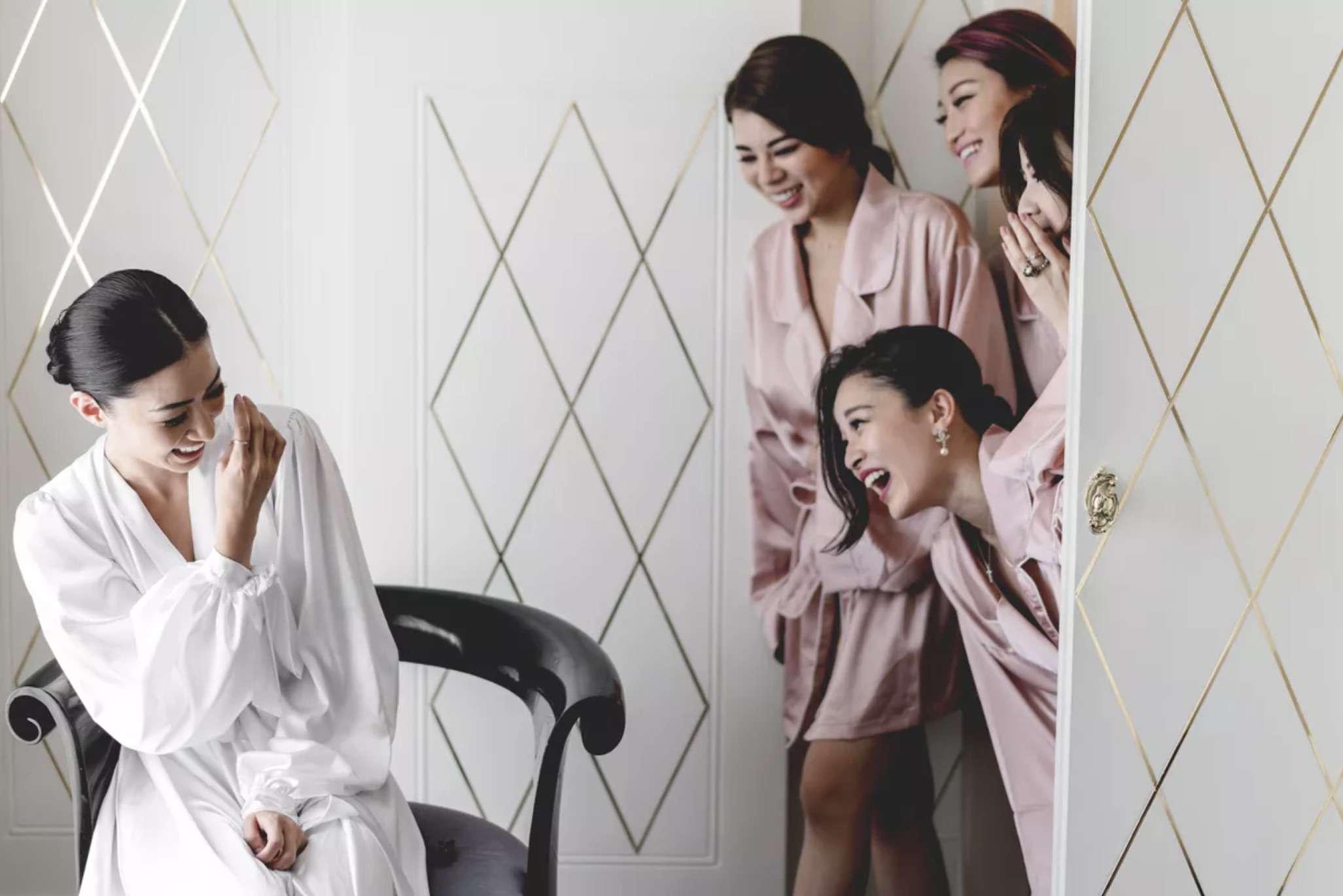 Bridesmaids surprising bride