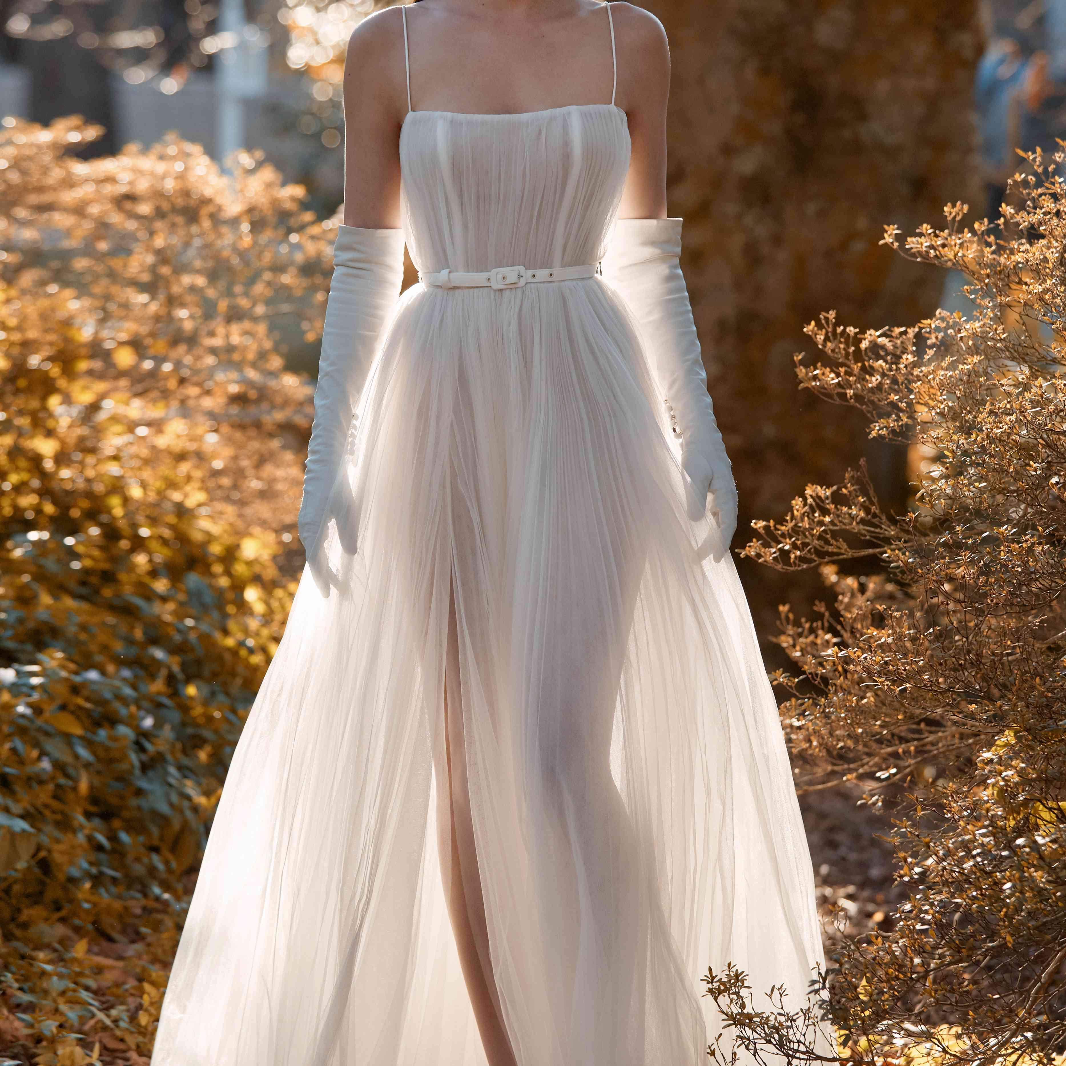 Harley wedding dress with spaghetti straps