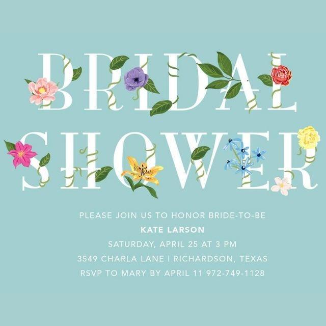 Paper Source Floral Letters Bridal Shower Invitation