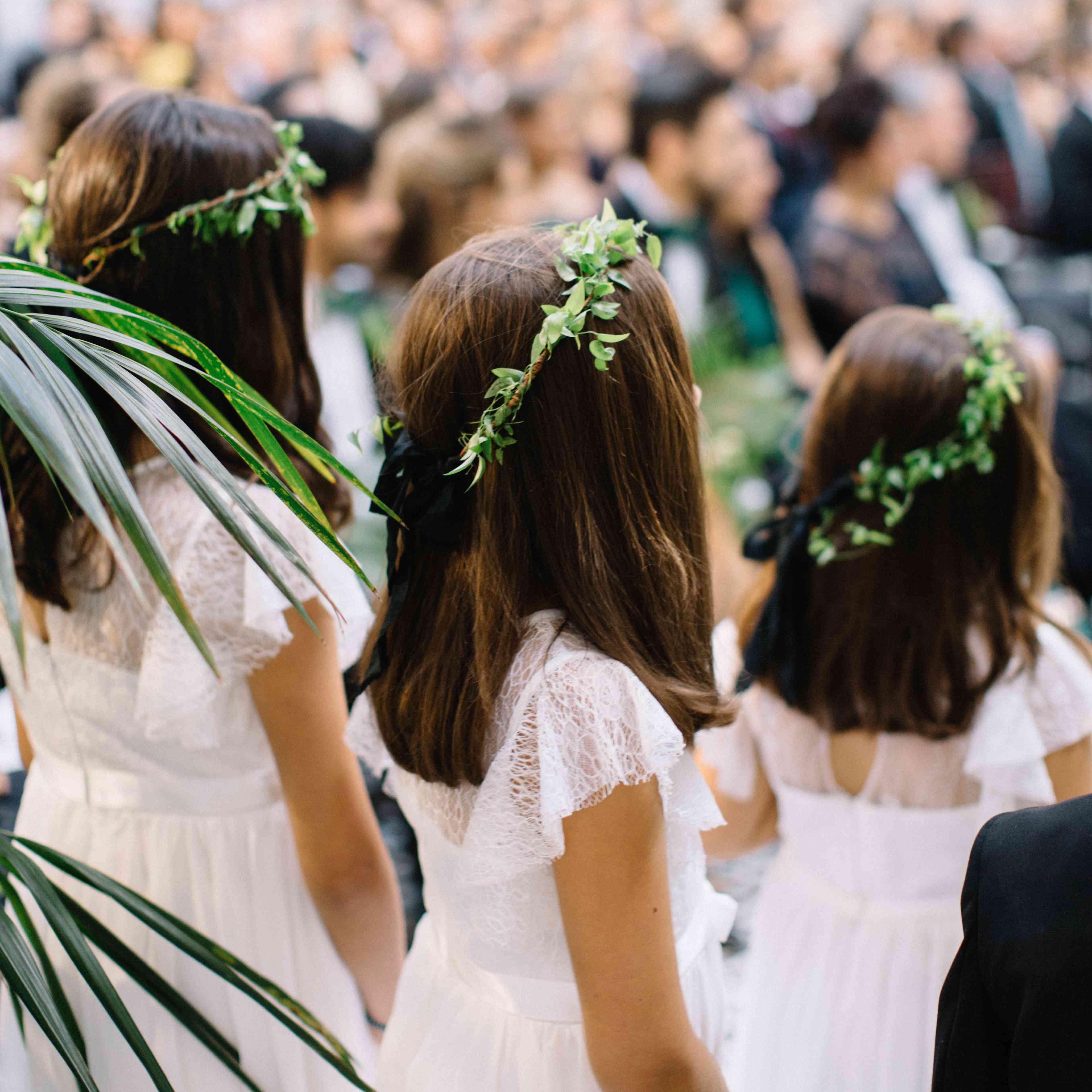 flower girls white dresses flower crowns
