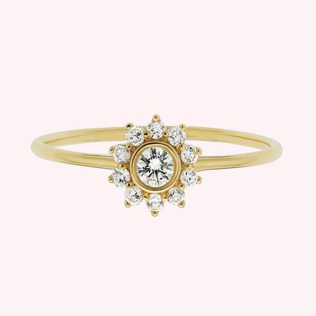 La Kaiser 14kt Gold Diamond Sunflower Ring