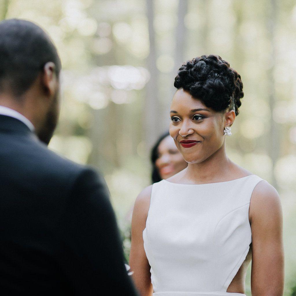 <p>bride at altar red lip</p><br><br>