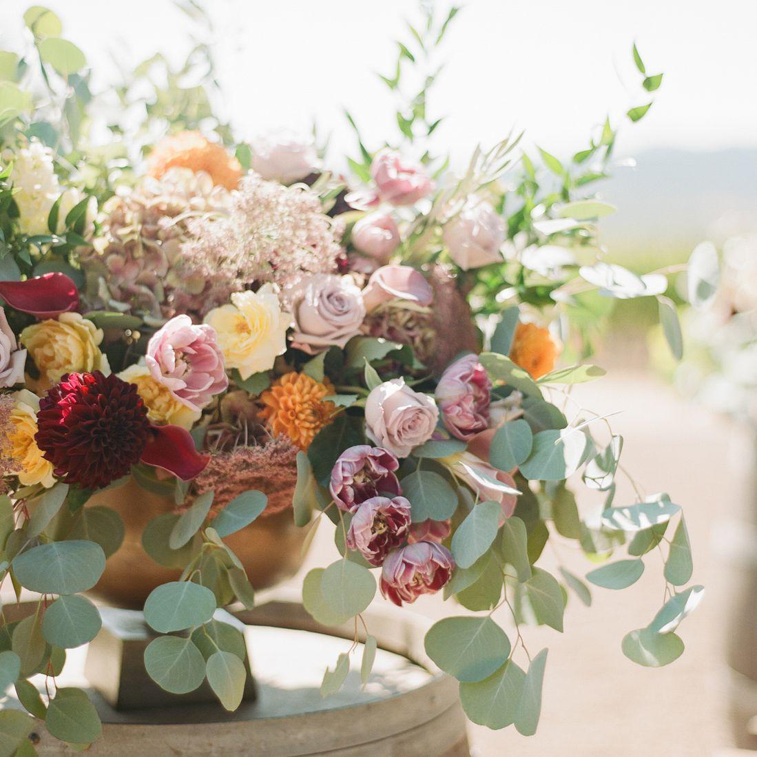 Flower Arrangement on Wine Barrel