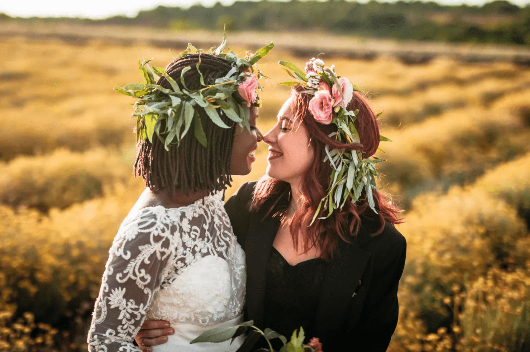 Brides with flower crowns