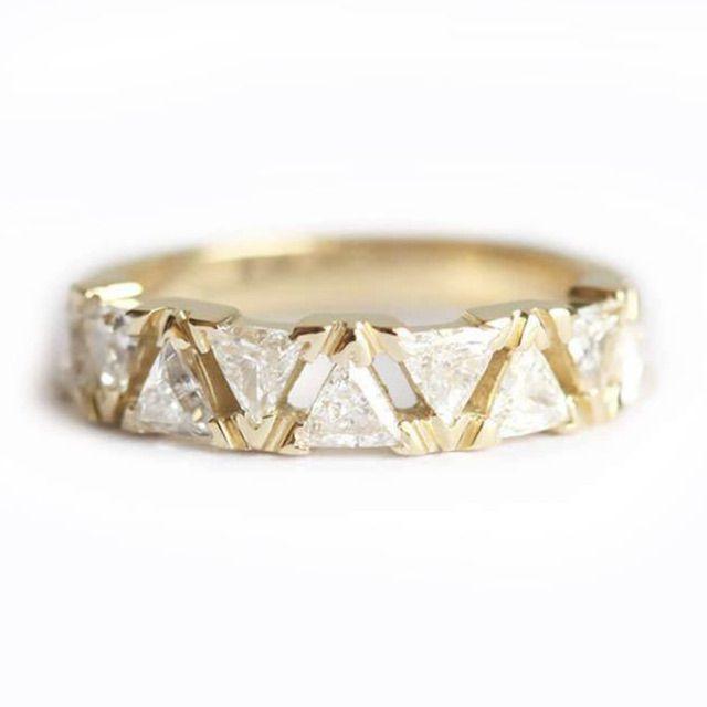 Capucinne Modern Triangle Diamond Ring, Triangle Diamond Band Half Eternity