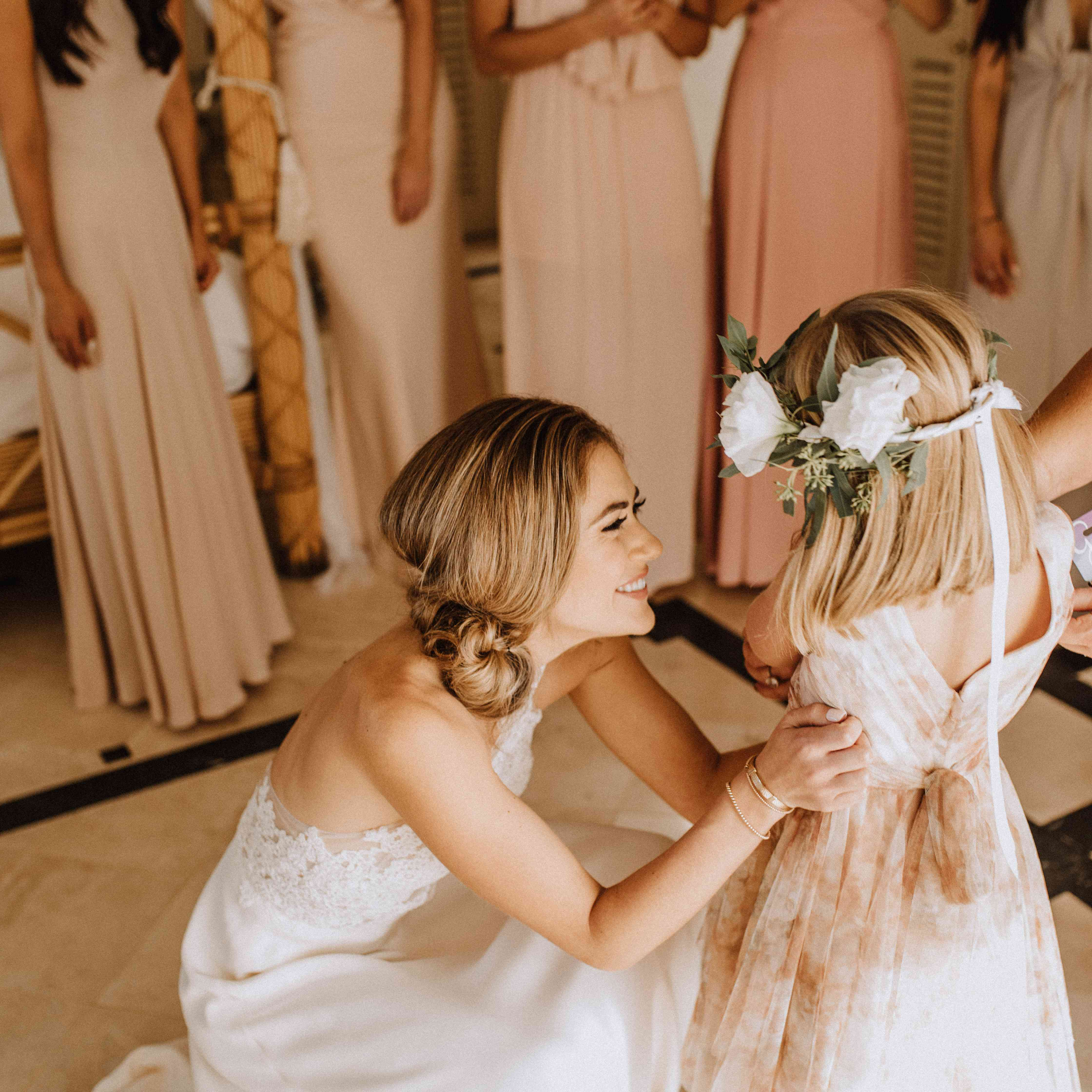 Bride with flower girl