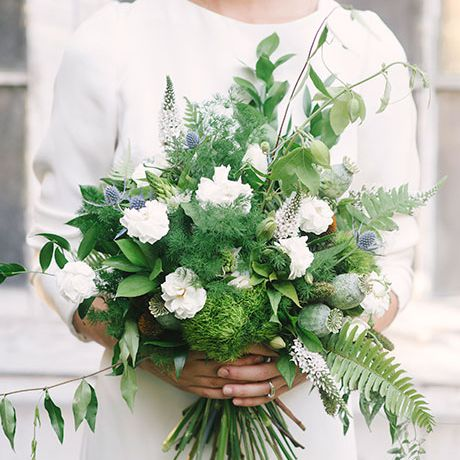 greenery bouquet with white flowers