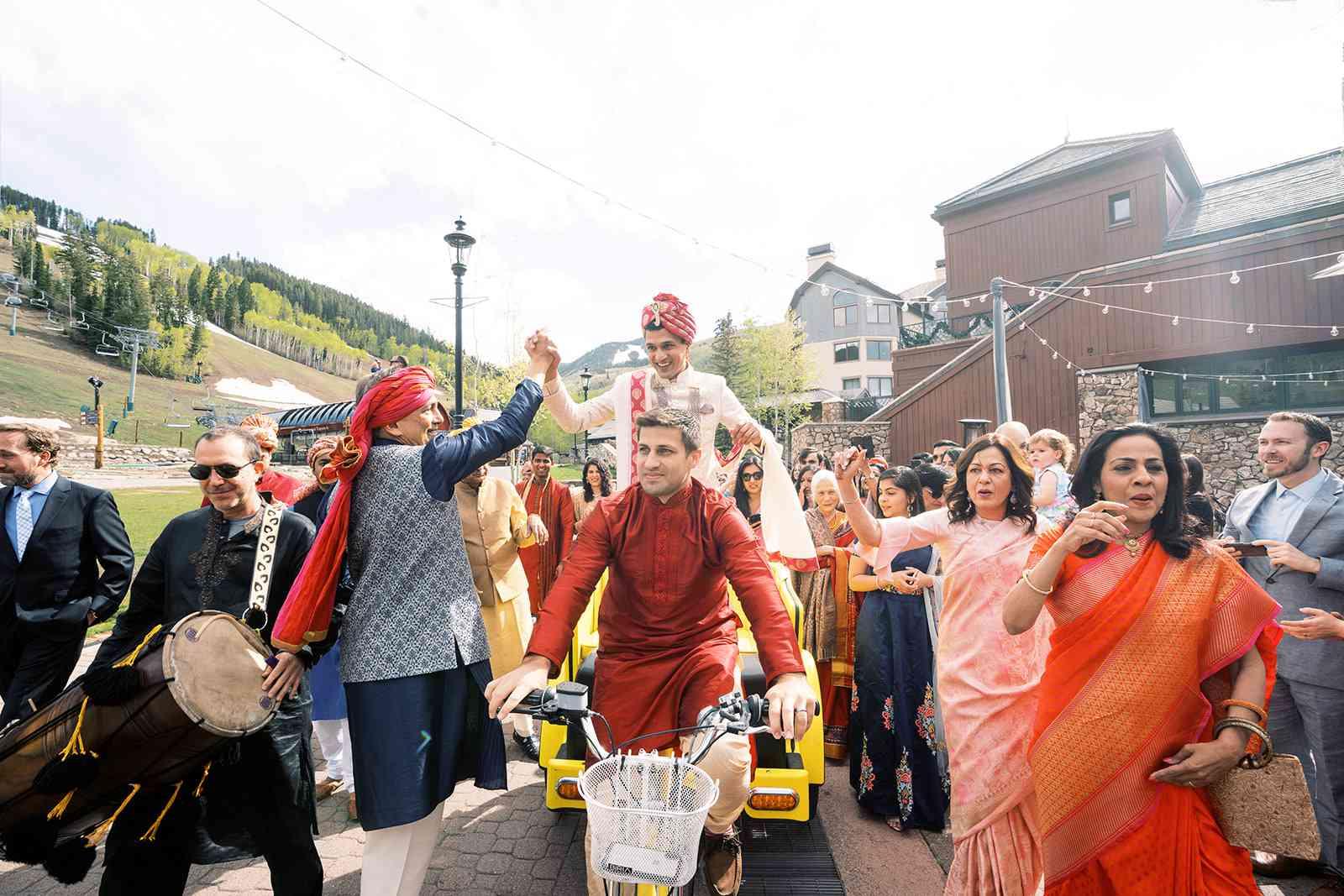 groom riding pedicab
