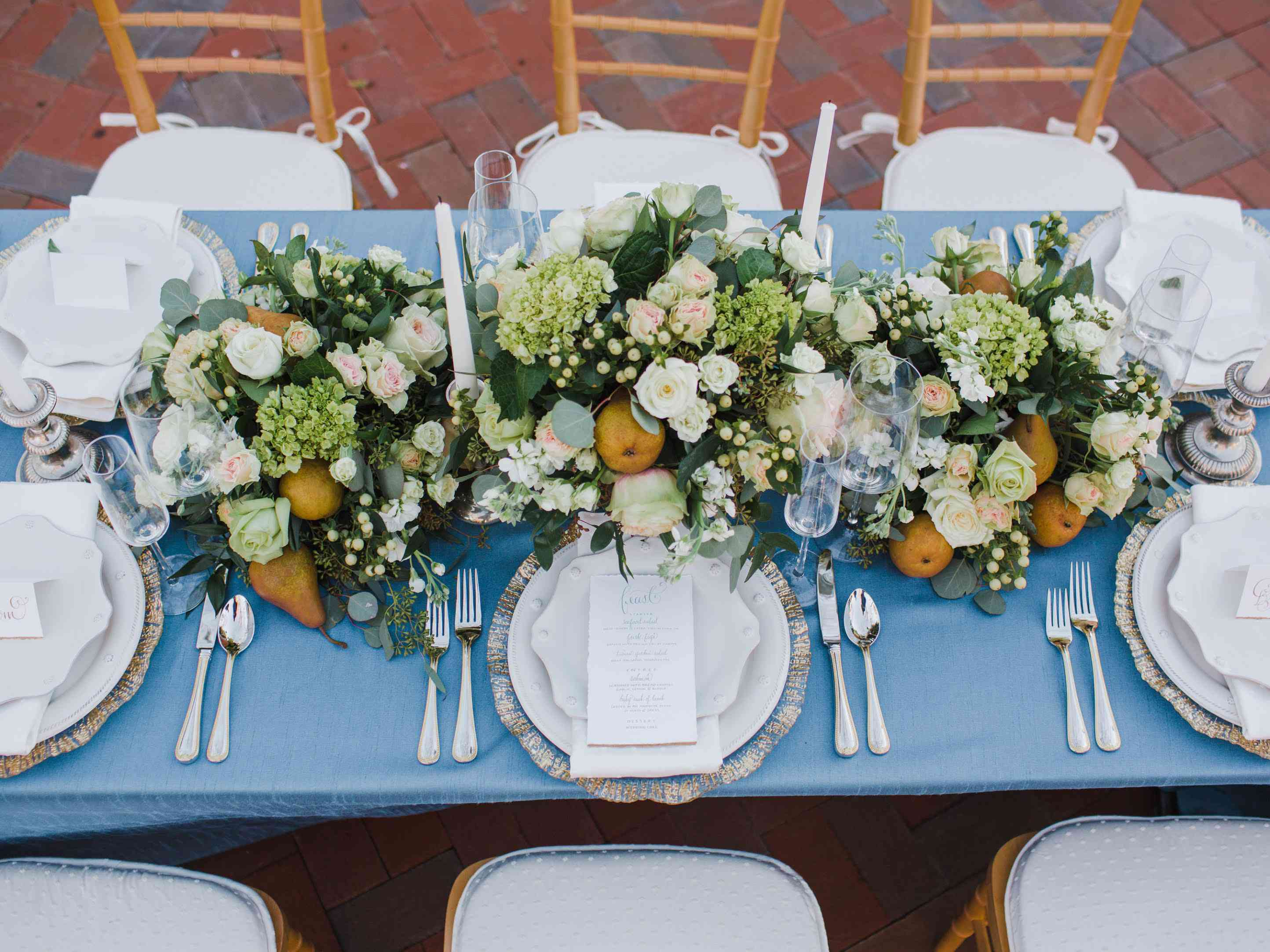 Pears and greenery centerpiece