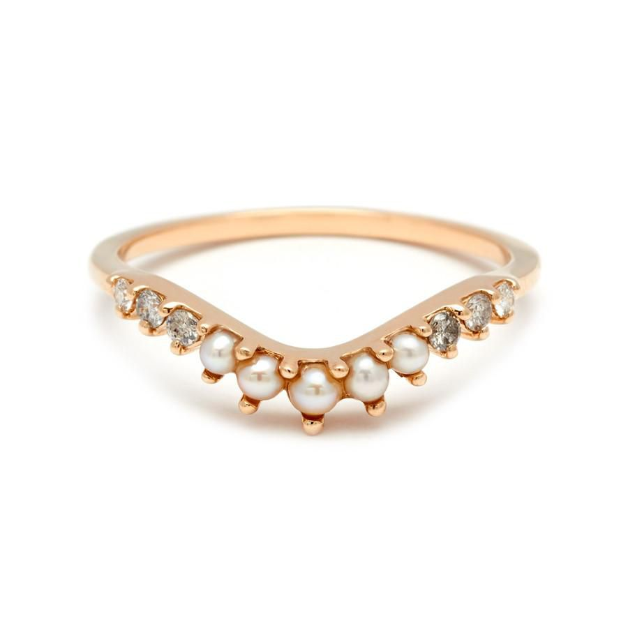 Anna Sheffield Yellow Gold Curve Ring With Pearls and Diamonds