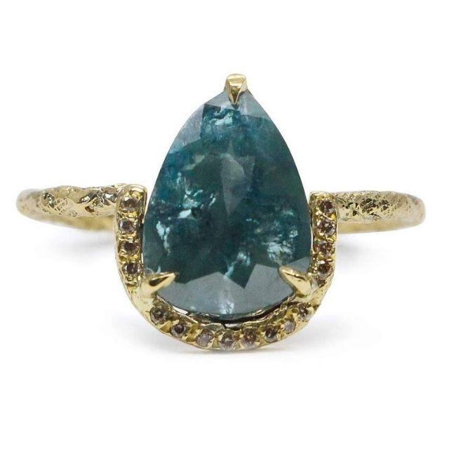 Niza Huang Blue Pear Cut Diamond Ring