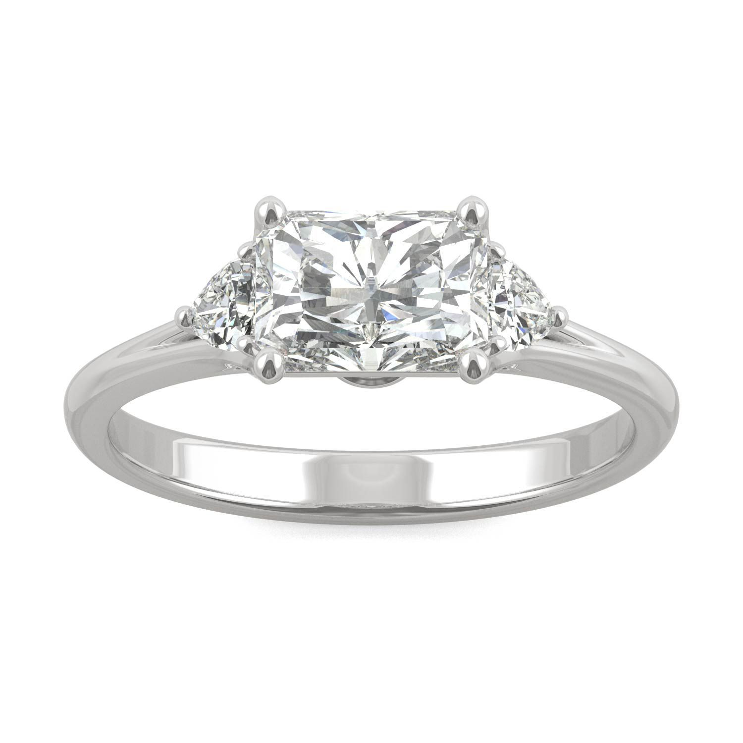Charles & Colvard Signature East-West Radiant Three Stone Engagement Ring in White Gold