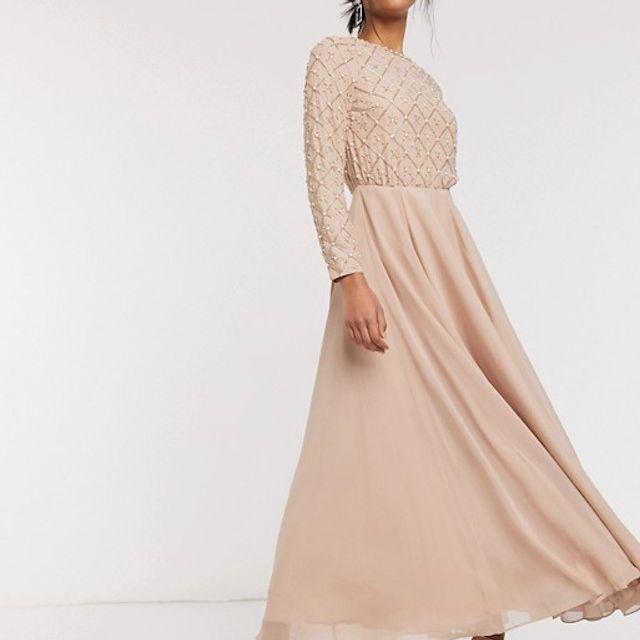 ASOS DESIGN Bridesmaid Embellished Maxi Dress With Long Sleeve
