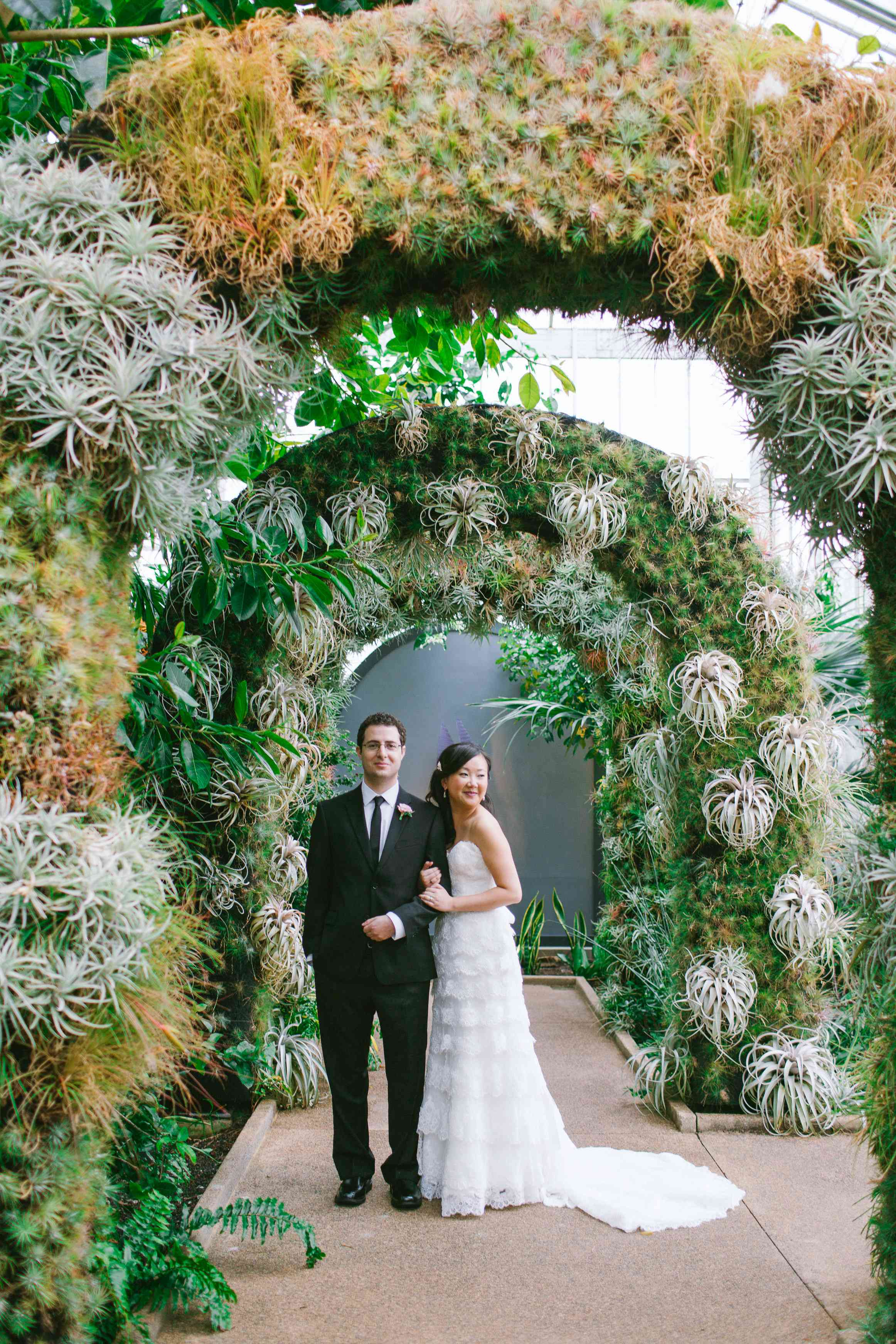 Wedding Arches of Air Plants with bride and groom