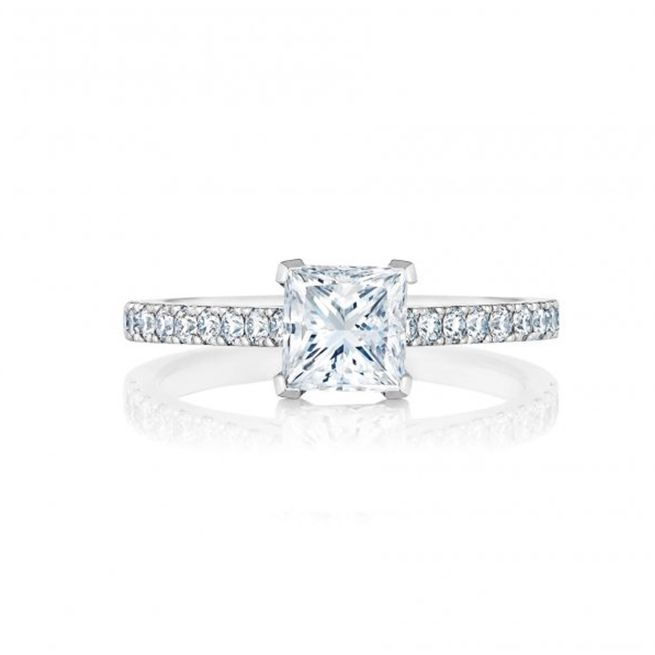 DB Classic Pave Princess Cut Solitaire Ring