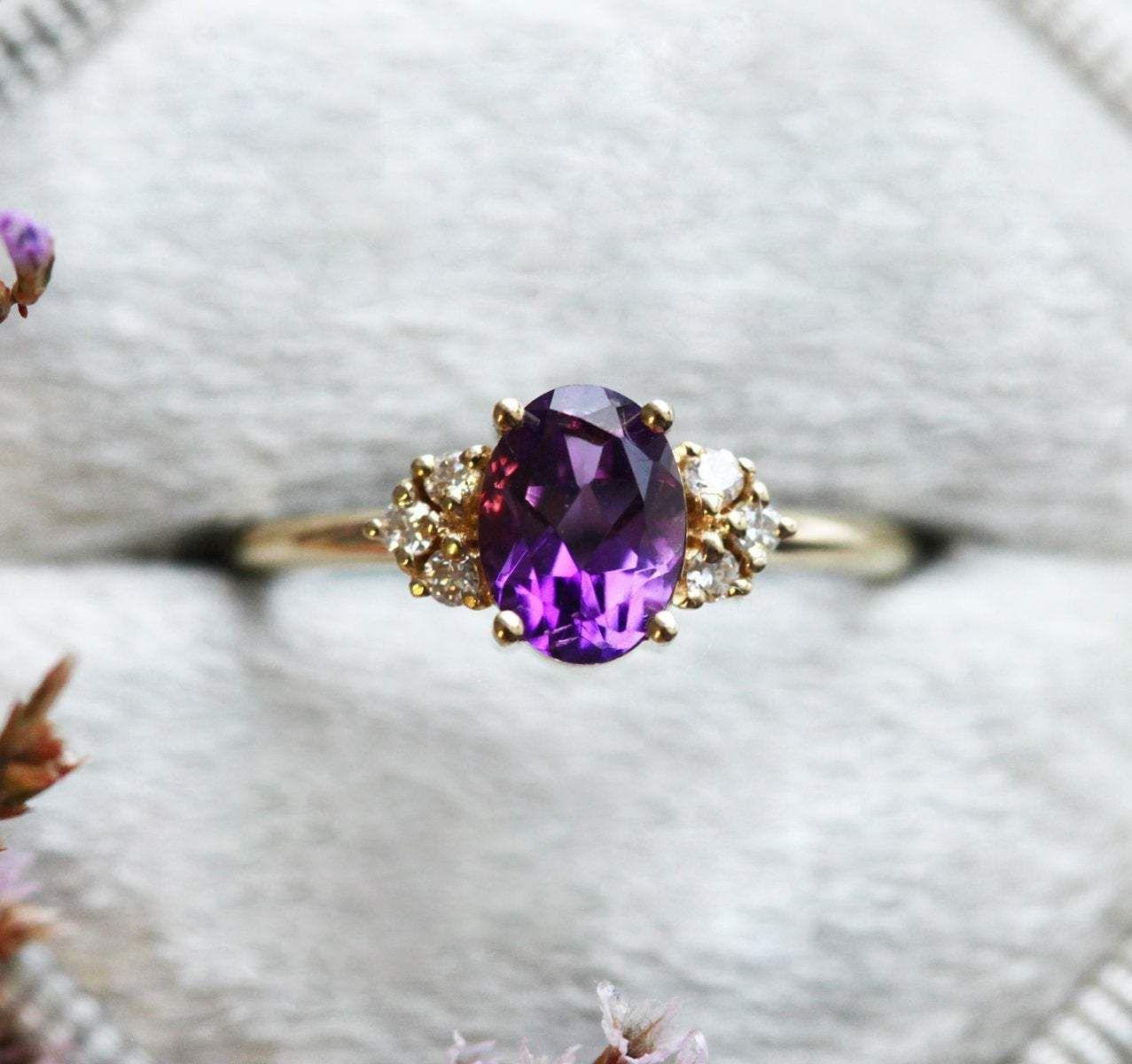 Reba Purple Amethyst Engagement Ring