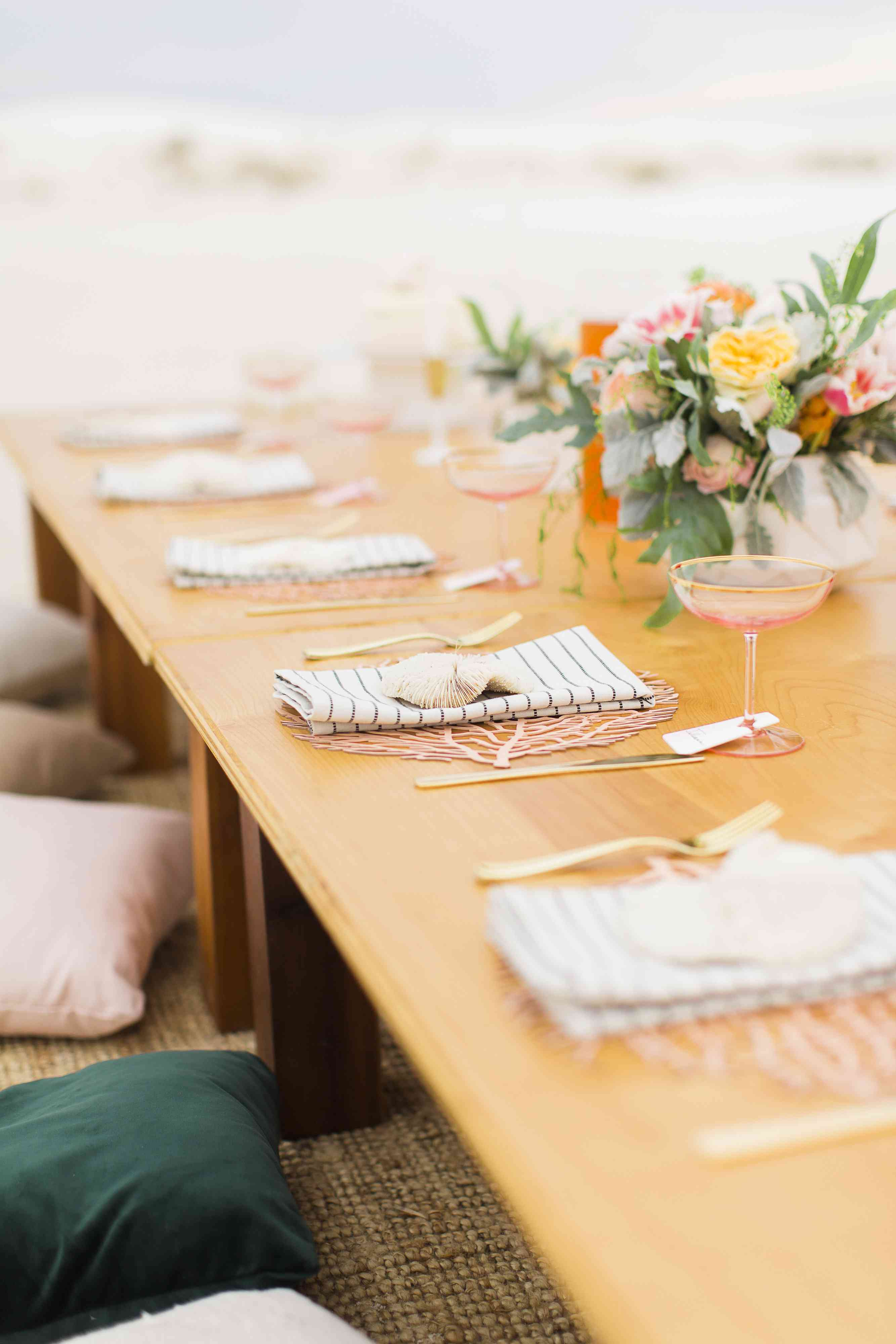 Rose and Gold Reception Table