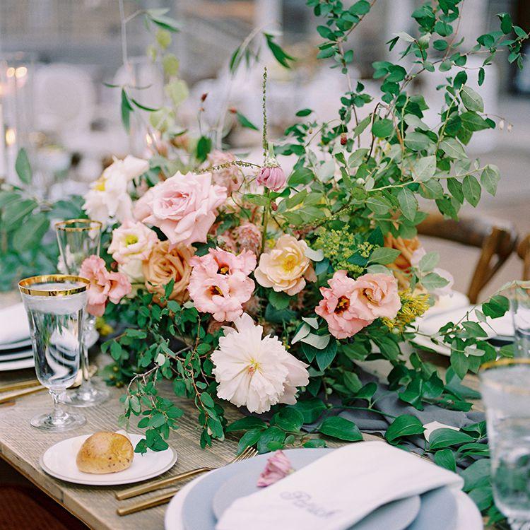 <p>pink rose centerpiece</p>