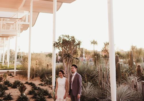 Bride and groom standing in desert