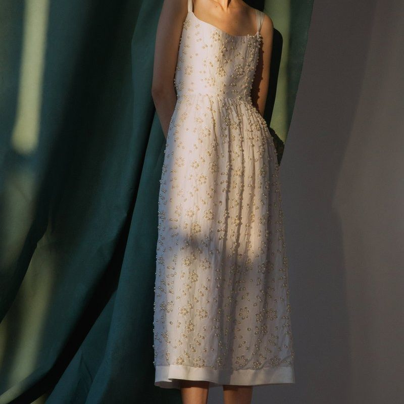 - Ivory Pearl beaded Party Slip Dress off-white cocktail dress. Vintage Party dress   Sheer. Peek-A-Boo Dress
