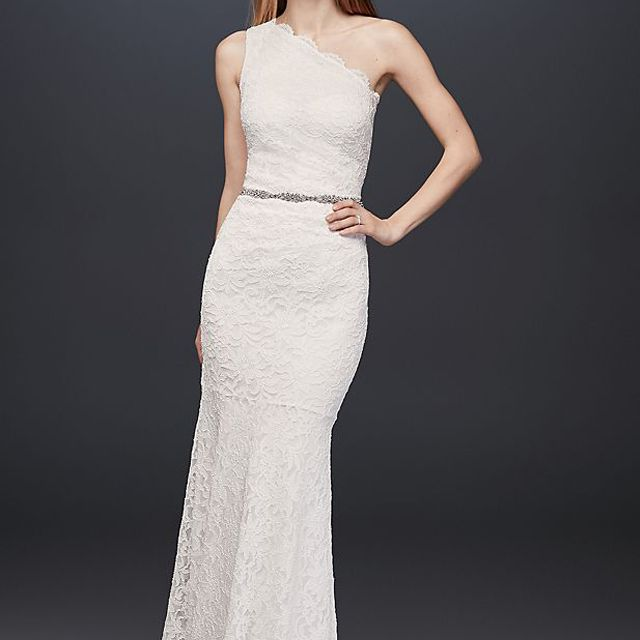 DB Studio Scalloped One-Shoulder Lace Sheath Gown $139.97, was $199.95