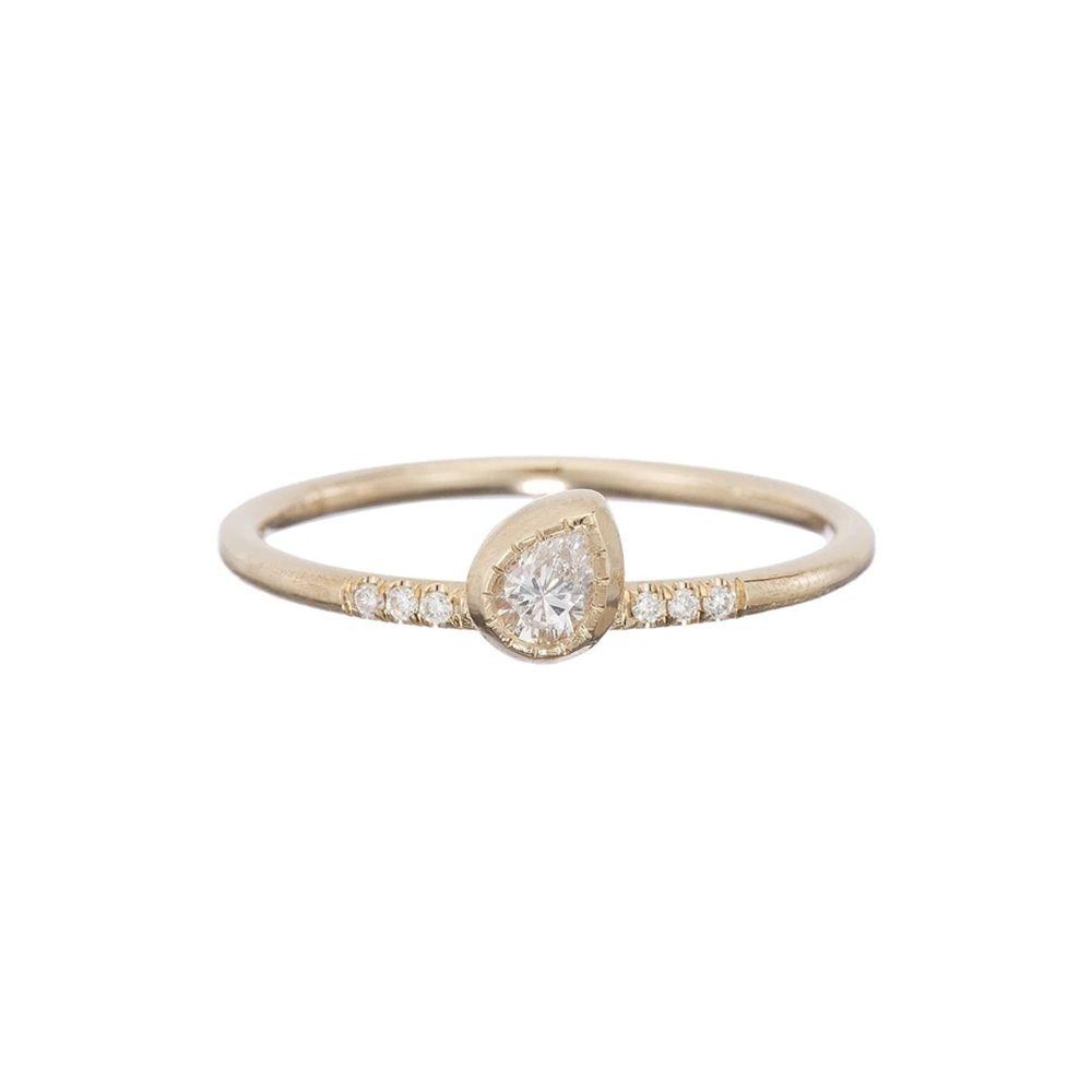 Jennie Kwon Diamond Tilt Pear-Shaped Ring