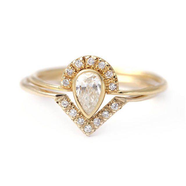 Artemer Pear Diamond Engagement Ring & Diamond Band