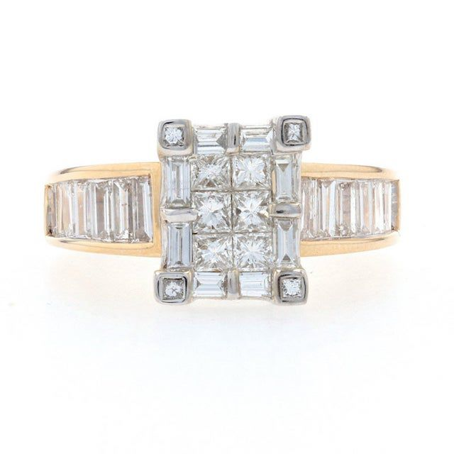 Wilson Brothers Yellow Gold Diamond Cluster Halo Engagement Ring