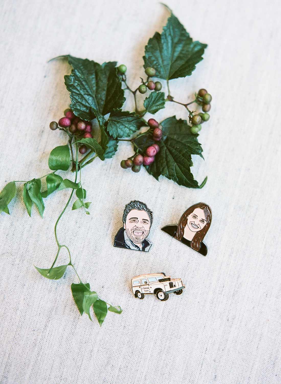 <p>bride and groom pins</p>