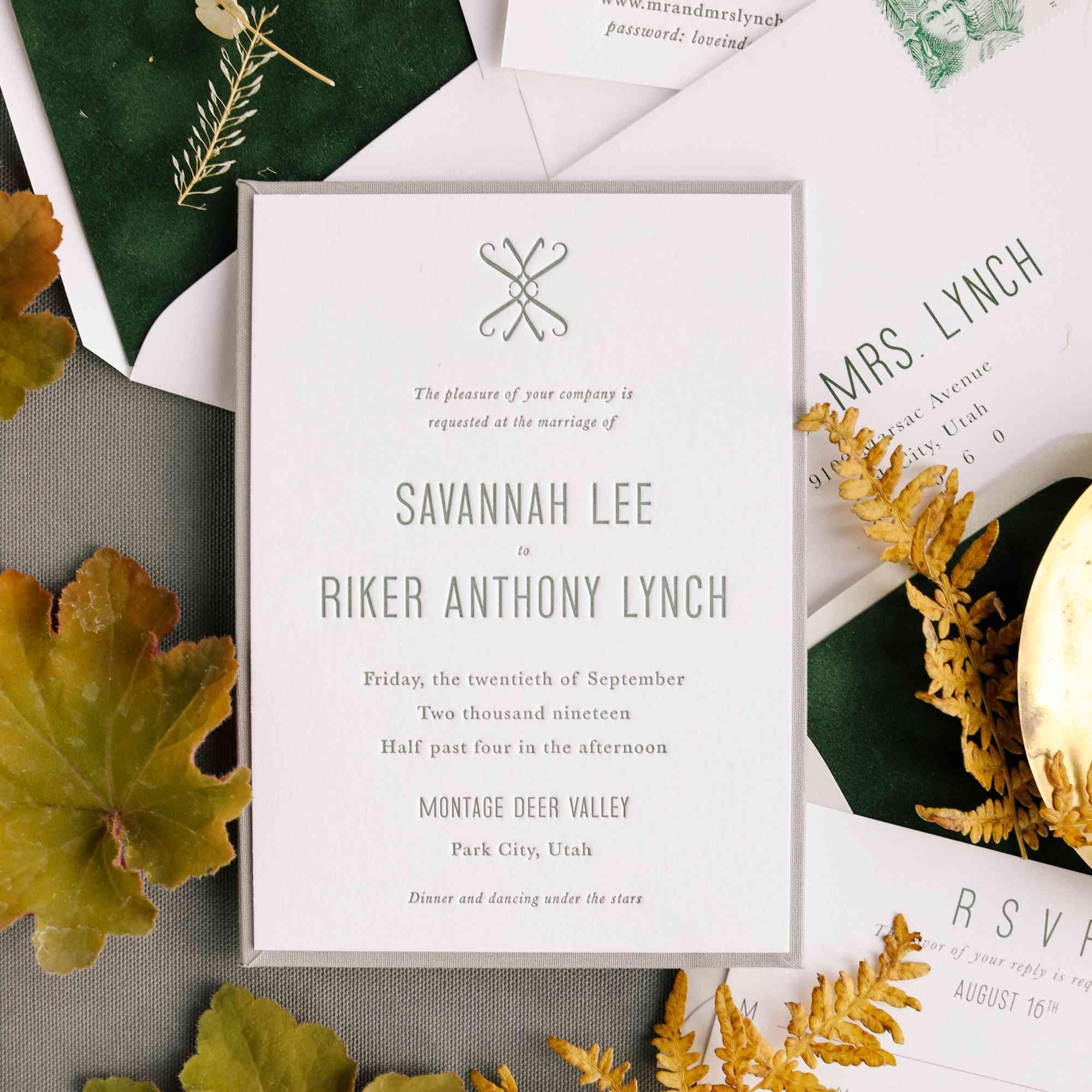savannah and riker wedding, invitation
