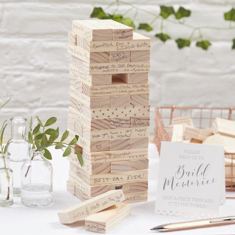 Jenga blocks as wedding guest book