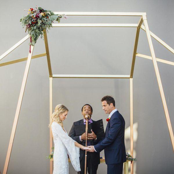 Bride and groom at modern altar