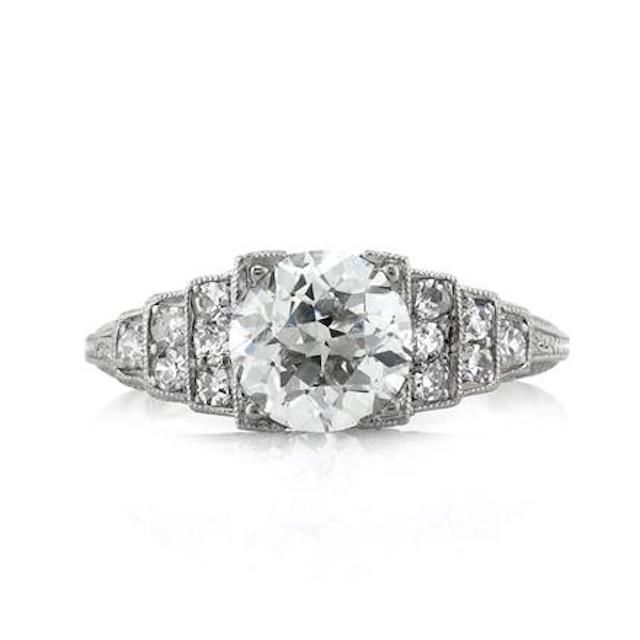 Mark Broumand Old European Cut Diamond Engagement Ring