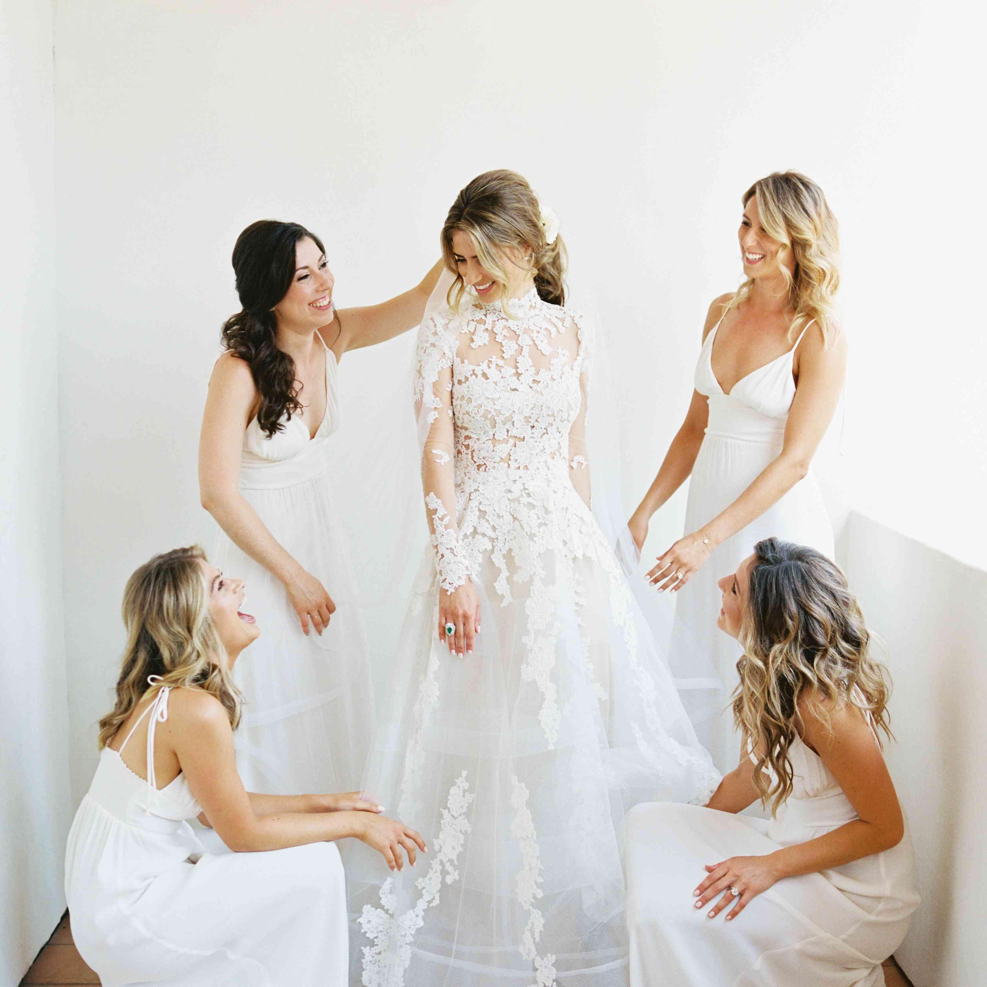 bride with bridesmaids white dresses