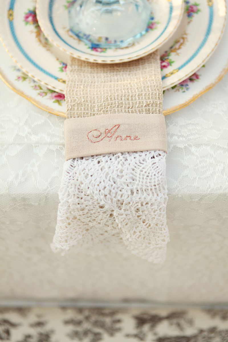 embroidered name card